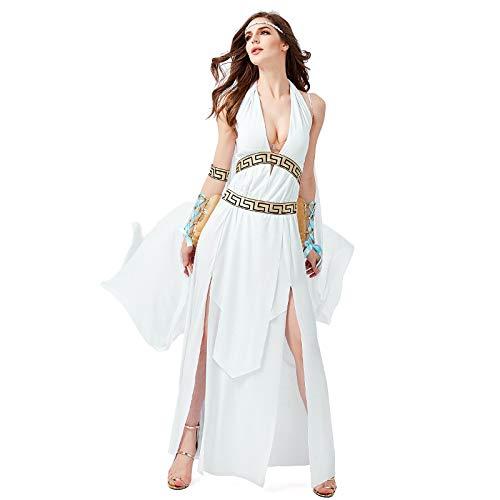 COSOER Antike Römische Griechische Mythologie Göttin Cosplay Kostüme ägyptische Königin Weiße Kleidung Für Halloween Weibliche - Römische Kostüm Weiblich