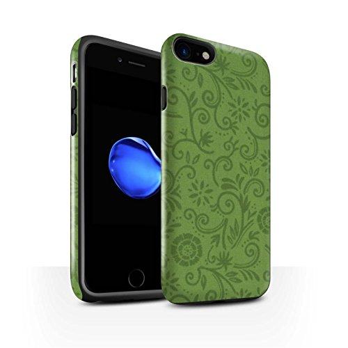 STUFF4 Glanz Harten Stoßfest Hülle / Case für Apple iPhone 8 / Lila Blume Muster / Floral Strudel-Muster Kollektion Green Flower