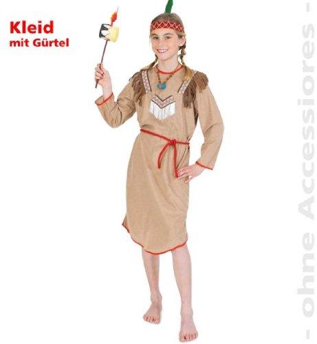 Squaw Indianer Kostüm - Indianer Wilde Rose Kinder Kostüm Mädchen Gr.140