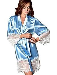 61e4c30682 Women Dressing Gowns TUDUZ Ladies Luxury Silk Kimono Dressing Gowns Soft    Cosy Babydoll Lace Lingerie