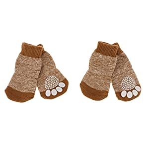 Sharplace 4pcs Chaussures pour Chien Chat Chiot Chaussettes Chauffages Antidérapantes pour Animaux de Compagnie