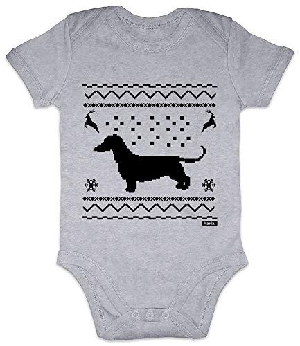 HARIZ Baby Body Kurzarm Dackel Weihnachten Weihnachten Weihnachts Schnee Tannenbaum Inkl. Geschenk Karte Bleistift Grau 3-6 Monate