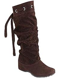 Minetom Donna Neve Stivali Autunno Inverno Calzature Female Moda Flats Half  Boots a4c5fc3d426