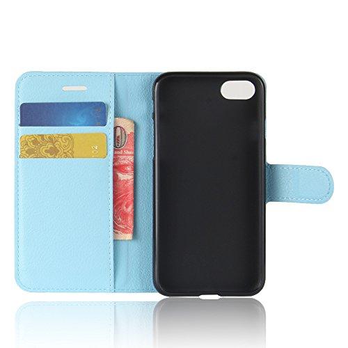 AVIDET iPhone 8 / iPhone8 Hülle - Hochwertiges PU Ledertasche im Bookstyle with Kickstand Card Holder für iPhone 8 / iPhone8 (Schwarz) Blau