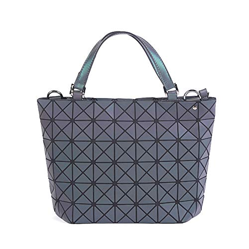 Chenrry Geometrische Leuchtende Geldbörse und Handtaschen für Damen Holographische Tasche Top-Griff mit Reißverschluss Schließung Messenger Schulranzen Taschen NO.2 -
