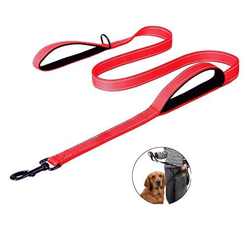 ZNZN Haustier-Doppelseitiges Reflektierendes Zugseil, Doppelte Handleine Mit Bequemem Griff, Anzug FüR Gehendes Training Laufen, Geschenk FüR Haustier-Liebhaber,Red