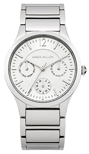Karen Millen Women's Quartz Watch with Silver Dial Analogue Display and Silver Stainless Steel Bracelet KM141SM