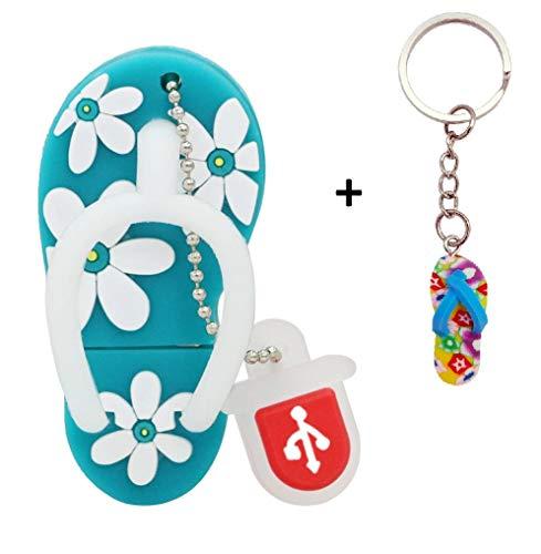 Lynneo® - Memoria USB Tipo Sandalia Azul 16 GB Llavero