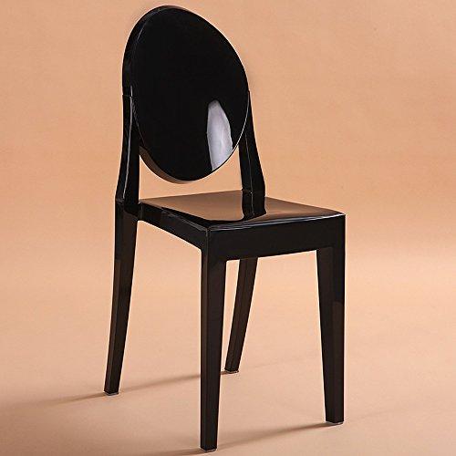 Stühle - Hohe Kunststoff Stühle/Acryl Stühle/Einfache Moderne Western Esszimmerstühle/Ghost Stühle/Transparente Hotel Coffee Stühle (Mehrere Farben erhältlich) (Farbe : Schwarz)