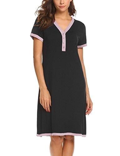 Ekouaer Damen Umstands-Nachthemd Mit Stillfunktion Stillnachthemd Schwarz