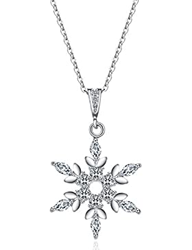 J.Vénus Damen Schmuck, Halskette Silber mit Schneeflocke Anhänger 925 Sterling Silber Zirkonia 45cm / Kette, Schmuck...