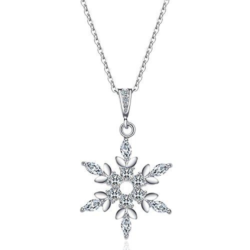 JVnus-Damen-Schmuck-Halskette-Silber-mit-Schneeflocke-Anhnger-925-Sterling-Silber-Zirkonia-45cm-Kette-Schmuck-mit-Etui-ewige-Liebe-wei