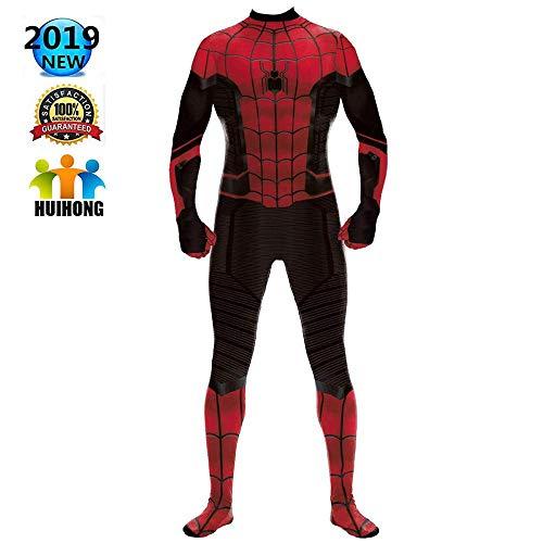 Hunde Großer Superhelden Kostüm - HUIHONG Mann Frauen Spiderman Cosplay Kostüm Superheld Spider-Man Kostüm Kleidung DC Hero Weihnachten Halloween Show Body Overalls,Red-XL