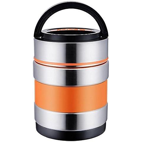 FOODJIA Ronda de vacío de acero inoxidable 304 con aislamiento almuerzo caja cajas de comida rápida doble derrame caja de almuerzo de pote de guisado olla , orange ,