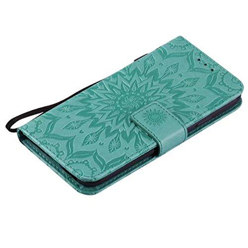 Doppelseitig geprägtes Sonnenblumenmuster Premium PU Ledertasche mit Kartenschlitze und Lanyard für iPhone X ( Color : Green ) Green