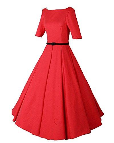 LaoZan Damen Elegant Plissee-Kleid Midi Sleeve Rockabilly Vintage 50er/60er Swing Kleider Rot