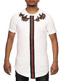 VIP Clothing Herren T-Shirt weiß mit Rundhalsausschnitt Kurzarm Oversize Longshirt mit Aufdruck