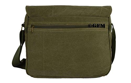 Seconds GFM -  Borsa Messenger classica in tessuto ideale per la scuola, per portare in  ufficio, in viaggio - Stile casual Small Size - Army Green (#HR9613)