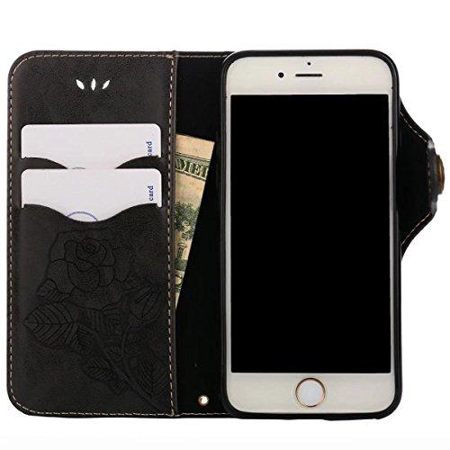 Cover iPhone 8 Custodia, Ougger Tessuto Stile Portafoglio PU Pelle Magnetico Morbido Silicone Flip Cover Bumper Protettivo Gomma Borsa Custodie per Apple iPhone 8 con il titolare della Carta, Stampa F nero
