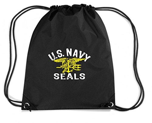 T-Shirtshock - Rucksack Budget Gymsac OLDENG00705 us navy seals, Größe Kapazität 11 Liter (Schwarz Us Navy Seal)