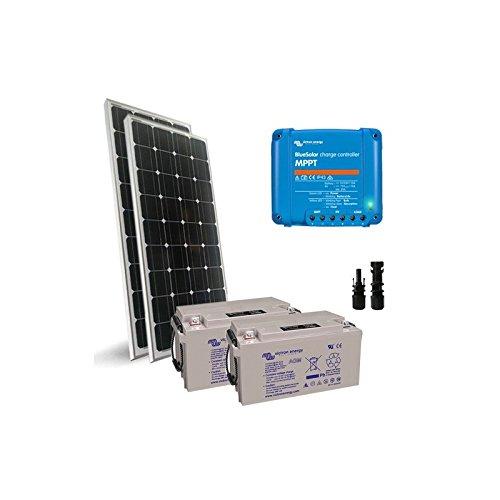 Solar-Kit Pro2 300W 24V Solarmodul Mono Panel Laderegler 15A MPPT Batterie 90Ah
