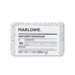 MARLOWE. No. 102 Jabón exfoliante corporal para hombre, 7 onzas, la mejor barra exfoliante para hombres, fabricado con ingredientes naturales, extracto de té verde, increíble aroma