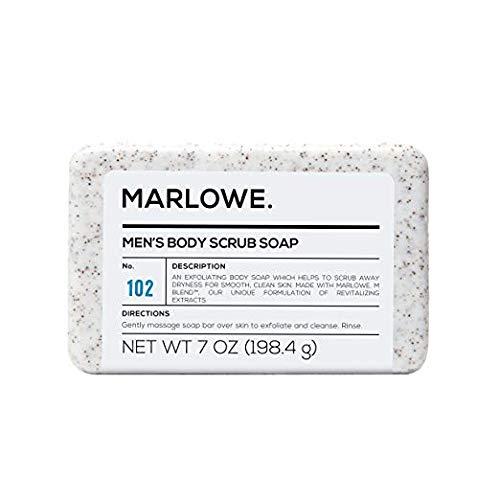 MARLOWE. No. 102 Jabón exfoliante corporal para hombre, 7 onzas, la mejor barra exfoliante para hombres, fabricado con…