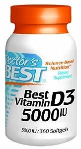 Doctor's Best, Best Vitamin D3, 5000 IE, 360 Kapseln von Doctor's Best