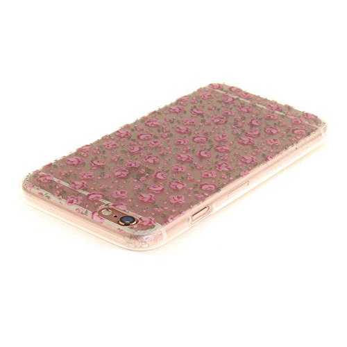 Etsue Silikon Schutz HandyHülle für iPhone 6S/iPhone 6 (4.7 Zoll) Blumen TPU Hülle, Niedlich Schöne Blume Muster Silikon Handytasche Ultradünnen Weiche Durchsichtig Handyhülle Soft Case Crystal Clear  Rot Rose Blühen