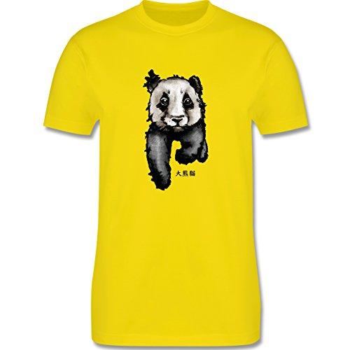"""Wildnis - Panda mit chinesischen Schriftzeichen für Panda übersetzt """"große Bär-Katze"""" - Herren Premium T-Shirt Lemon Gelb"""