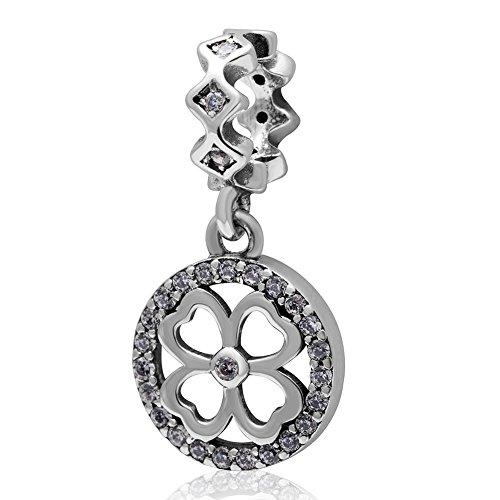 Sandcastle charm quattro e tre foglia stile quadrifoglio portafortuna in argento sterling 925ciondoli per bracciale regali di compleanno gioielli e argento, cod. pw_clover1