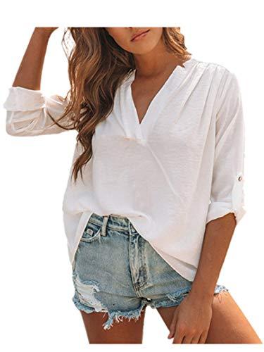 TEBAISE Damen Freizeit V-Ausschnitt Leinen Bluse Locker Hemd Blusenshirt Manschetten-Ärmel Shirt Bluse