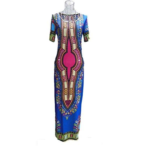Robe Femmes,Fulltime®Femmes Maxi Dress Sexy traditionnelle africaine Imprimer Dashiki Robe moulante Party Bleu