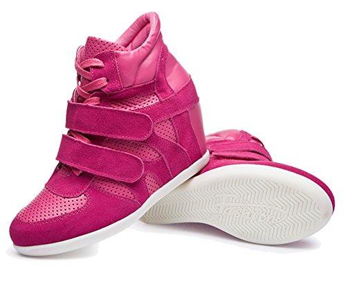 Padgene Baskets Mode Compensées Scratch Suede Nylon Cuir Sneakers Hautes Lacets Chaussures de ville Grande Taille 34 39 40 Femme Rouge
