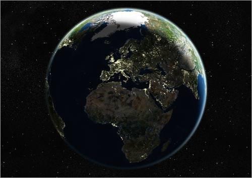Poster 18 x 13 cm: Europa bei Nacht von Planetobserver/Science Photo Library - hochwertiger Kunstdruck, neues Kunstposter