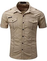 Formal Hombres De un Solo Pecho Camisas el Manga Corta Con Clásico Del Ejército Estilo,Tamaño Regular