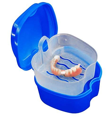 SUJING Zahnkiste, Zahnbecher, Deckel für Zahnkranz, falsche Zähne, Aufbewahrungsbox, Netz-Container, dunkelblau, 9 X 9X 7cm