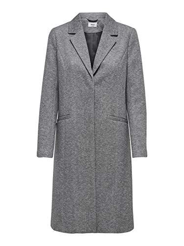 ONLY Damen Mantel onlISA Light Long Coat CC OTW, Grau Grey Melange Detail:Melange, 38 (Herstellergröße: M)