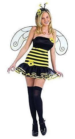 Femmes 4 Pièces Sexy Déguisement Abeille Animal avec des ailes & Bas Costume Déguisement - Jaune/Noir, Jaune/Noir, 14-16