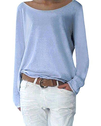 Yidarton Damen Langarm T-Shirt Rundhals Ausschnitt Lose Bluse Hemd Pullover Oversize Sweatshirt Oberteil Tops (Grau, XL)