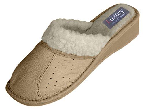 Chaussons pour femme en cuir, pantoufles avec laine futter. couleurs différentes Beige