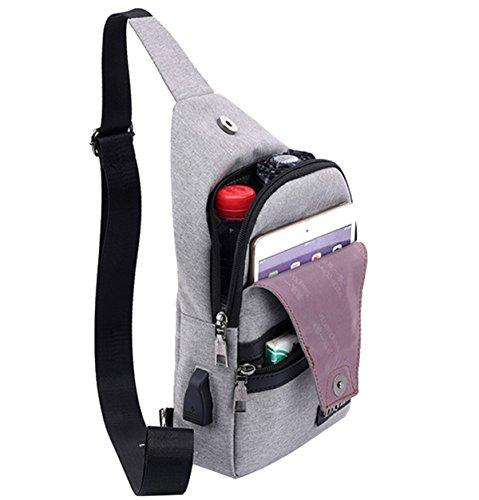 niceeday Messenger Bag, Retro Messenger Taschen Brust Tasche mit USB Ladeanschluss Cross-Body-Tasche Casual Shoulder Pack Tagesrucksack Sling Bag für Damen und Herren Sport, Arbeit, Schule, Reisen blau