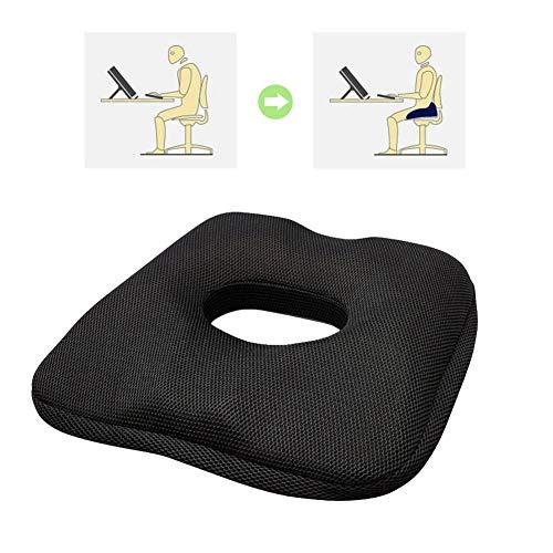 Cojín de corrección de la Postura sentada - Almohada Mejorada de cojín/Gel de Asiento de Espuma de Memoria Superior para aliviar el Dolor de Espalda y la ciática