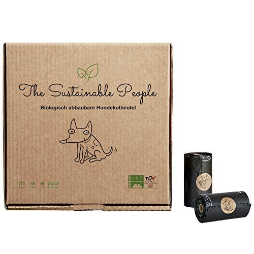 TSP biologisch abbaubare Premium Hundekotbeutel - OK compost HOME zertifiziert - 100% heim-kompostierbar und biologisch abbaubar (kein OXO!) - Gross, Extra Dick (18µm) (18 Rollen (270 Beutel)) (Setzen Home)