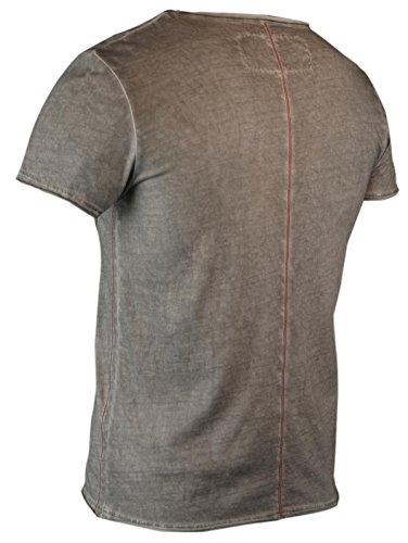 trueprodigy Casual Herren Marken T-Shirt mit Aufdruck, Oberteil cool und stylisch mit V-Ausschnitt (kurzarm & Slim Fit), Shirt für Männer bedruckt Farbe: Dunkelgrau 1053130-5203 Dark Grey