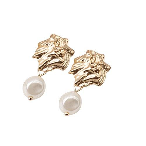 LILIGOD Netzwerk Rot Metall Ohrringe Unregelmäßig Geformte Perlen Ohrringe Damen Geometrische Kreative Ohrringe Frauenmode Elegant Baumeln Ohrring Goldene Ohrringe Lange Ohrringe