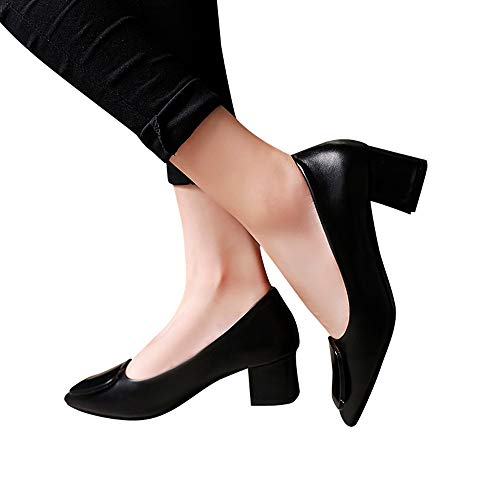 Beikoard -30% moda donna scarpe basse tacco largo tacco classico scarpe sexy tacco(nero,39)