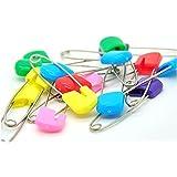 hakacc dos tamaño 14pcs pins bebé niño infantil Kids cabeza de plástico bolsa para pañales pañal Pins seguridad Hold clip con gamuza