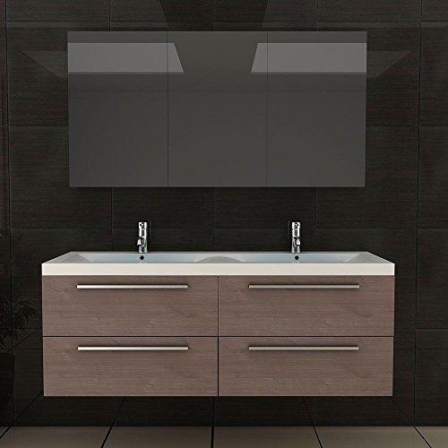 Badezimmer Möbel / Waschbecken / Doppelwaschtisch / Badmöbel / Unterschrank / Waschplatzlösung / Modell Garda-1440 / Farbe: Braun / Waschtisch - 3