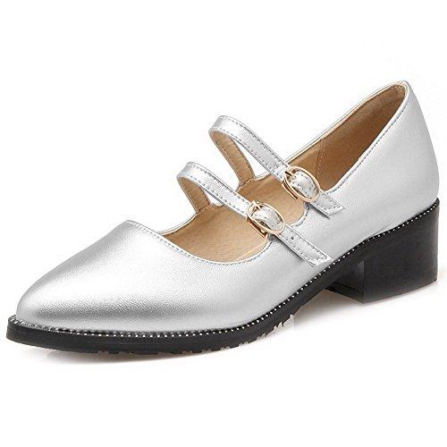 Damen Blend-Materialien Rein Schnüren Rund Zehe Mittler Pumps Schuhe, Grau, 39 VogueZone009